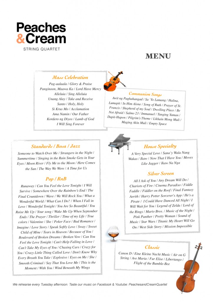 Peaches & Cream String Quartet Music Selection Card