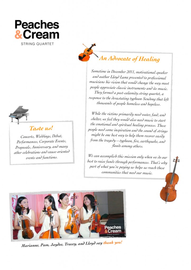 Peaches & Cream String Quartet in Manila, Philippines Story