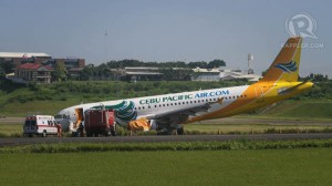 Photo showing Cebu Pacific aircraft that overshoots Davao runway taken from Rappler website.
