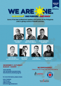 Industry experts and motivational speakers come together for a one cause for the Philippines and the Filipinos.